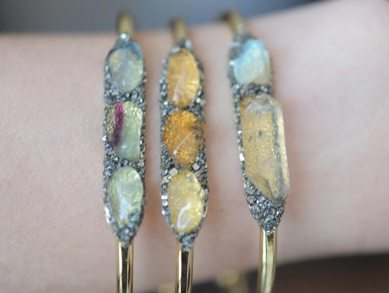 Silver Cuff Gold Bracelet Raw Aquamarine Cuff Aura Quartz Bracelet Raw Mineral Bangle Aura Quartz Jewelry March Birthstone Bracelet