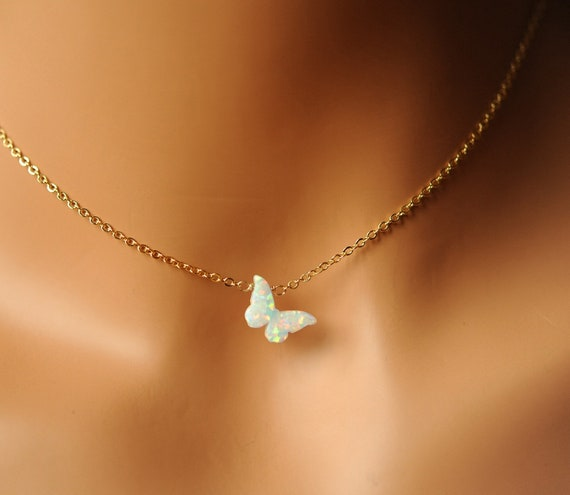 for women 14k gold dainty necklaces 14k Yellow Gold Tiny Butterfly Charm Pendant Cable Chain Necklace everyday necklace for girls