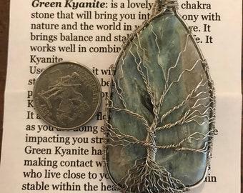 Green kyanite stainless steel wrapped crystal tree