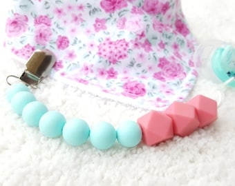 CORAL Silicone Pacifier Clip Binky Clip Dummy Teether Clip Soother Clip Color Block Universal Clip Toy Clip Newborn Baby Girl Boy Chew Beads