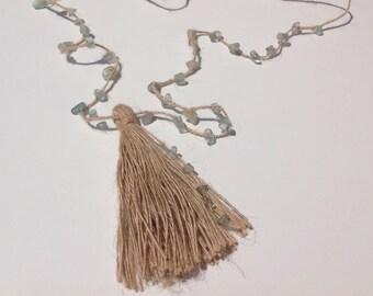 Necklace Gems and tassel. Choose your color. Long Jute necklace. Boho Necklace. Beach necklace. Summer Necklace. Pompom necklace.