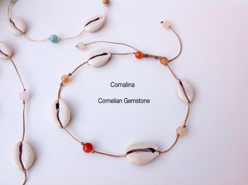 Amazonite Carnelian Beach Choker. Anklet or choker thread cowries shells and gems Anklet Surf Necklace shells Pink Quartz