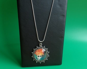 Silver necklace and pendant Mexican skeleton