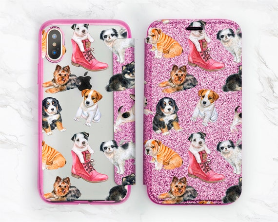 Dog Iphone Case Iphone 8 Glitter Cute Puppy Clipart Iphone Wallet Case Rose Gold Iphone X Apple Iphone 7 Plus Iphone 6 Flip Case 6s 10 Girl