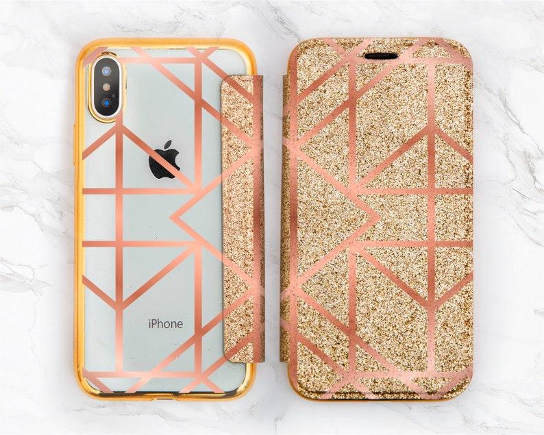 Gold Line Art Glitter Iphone X Geometric Iphone 6 Rose Gold Etsy