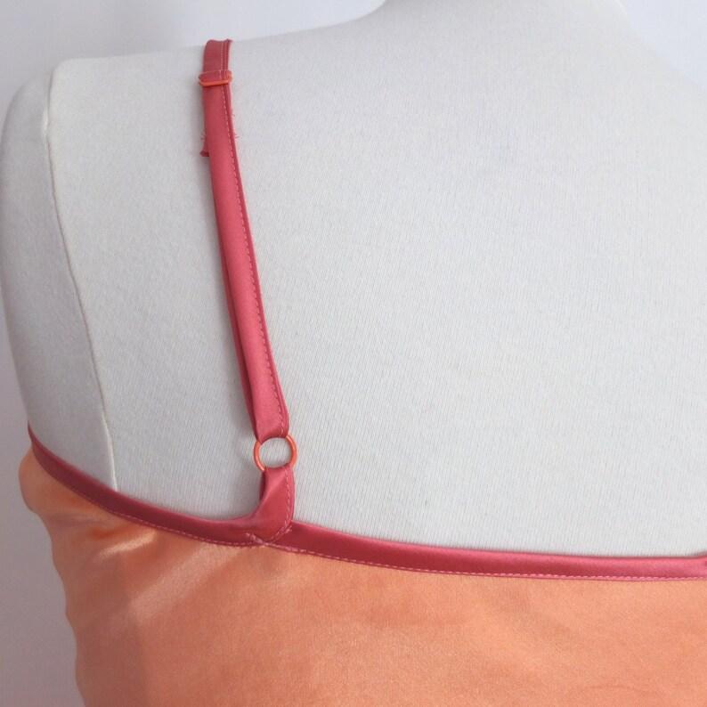 Silk Slip Dress Hand Dyed Bias Cut Nightwear Lingerie Peach and Pink Size Medium UK 12-14