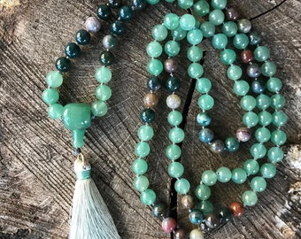 Traditional Mala made with Aventurine and mixed agate beads, 108 beads hand knotted with light green-gray tassel.