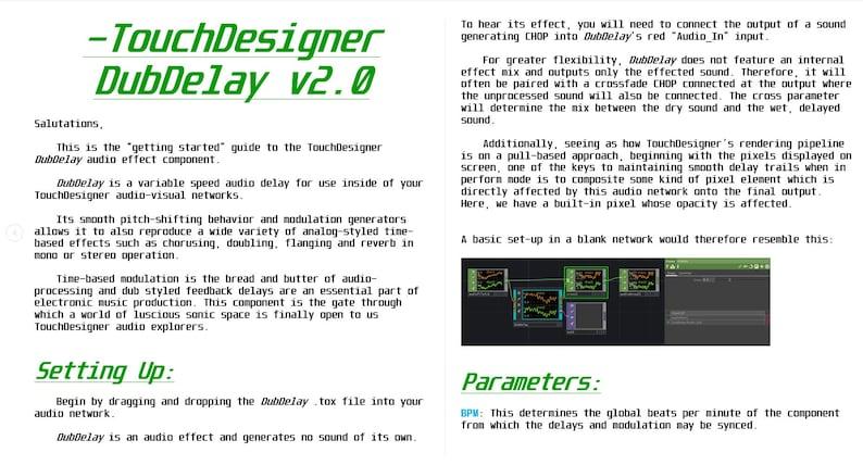 TouchDesigner DubDelay Audio Delay Component image 0