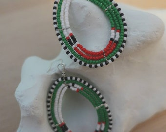 African Tribal Massai style earrings green and red