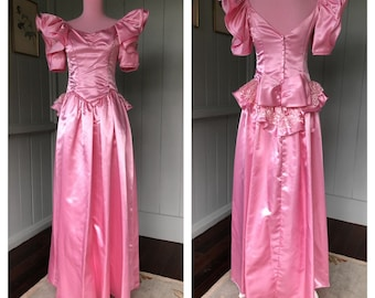 a586951d47e Vintage 80s Prom Dress Gown Pink Puff Sleeve Cinderella Princess Gown Big  Bow Satin