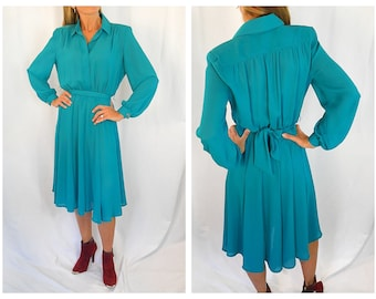93e8aa5b770 80 s Teal Green Dress Sheer Flowy Big Shoulders