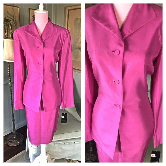 Silk Suit, 80s Power Suit, Silk Dress, Dana Buchma