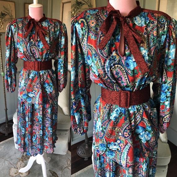 Diane Freis, 80s Dress, Paisley Dress, Diane Freis