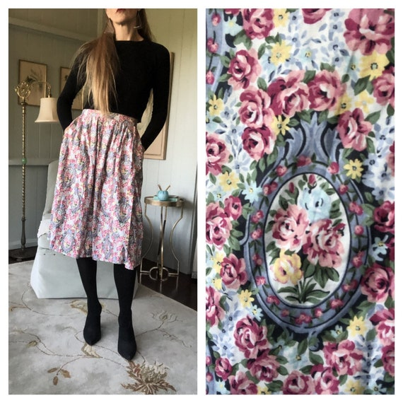 Pastel Skirt, Peasant Skirt, Floral Skirt, 80s Ski