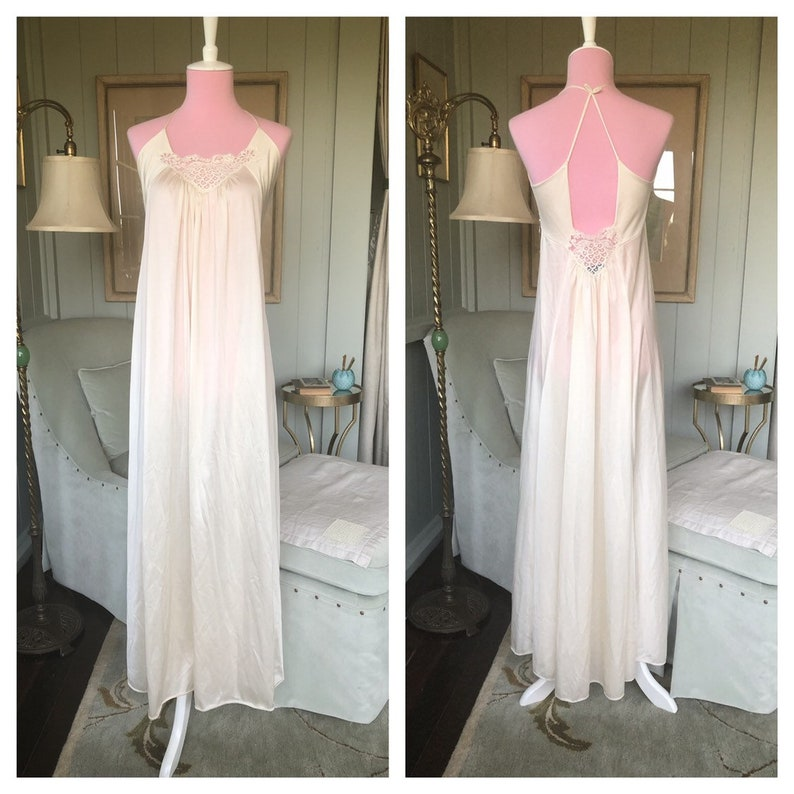 Lily of France Silky Rayon Nylon Cream Ivory White Lace Negligee Nightgown Nightie Small