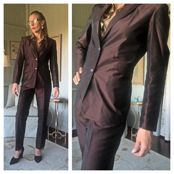 Silk Suit, Pantsuit, 80s Suit, Womens Tuxedo , Sil