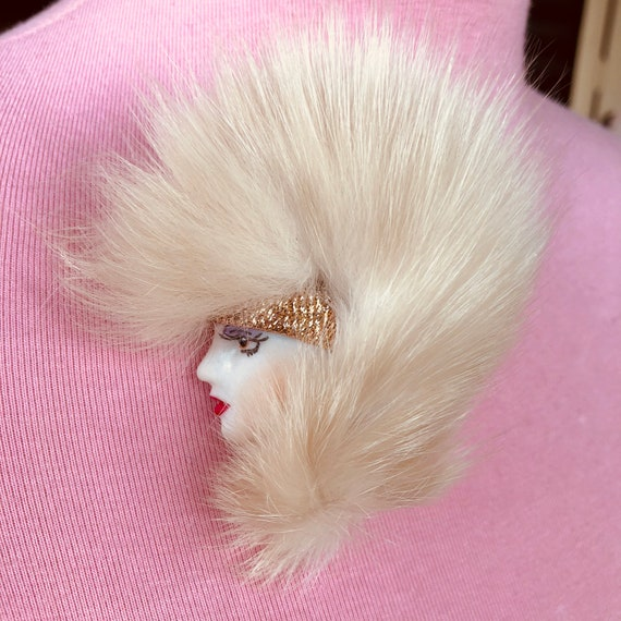 Womans Head Brooch New Wave Punk 80s Pin