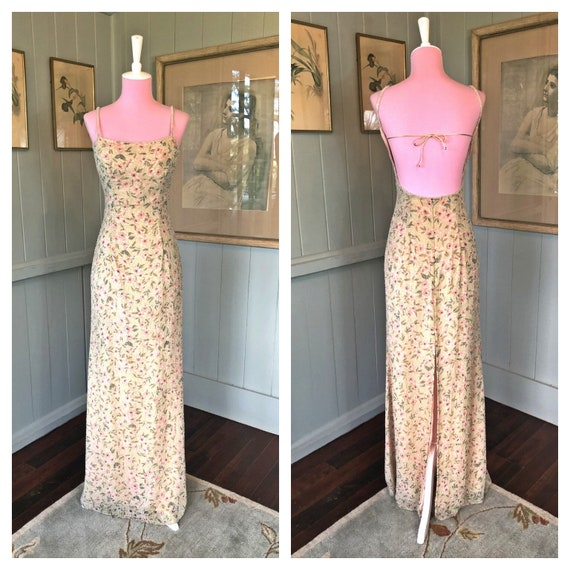 Vintage Slip Dress, Beaded Slip Dress, Silk Dress,