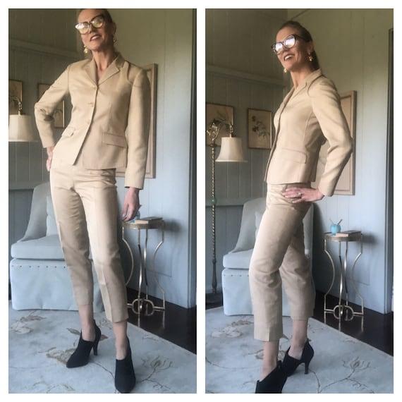 Silk Suit, Pantsuit, 80s Suit, Silk Jacket | Mediu