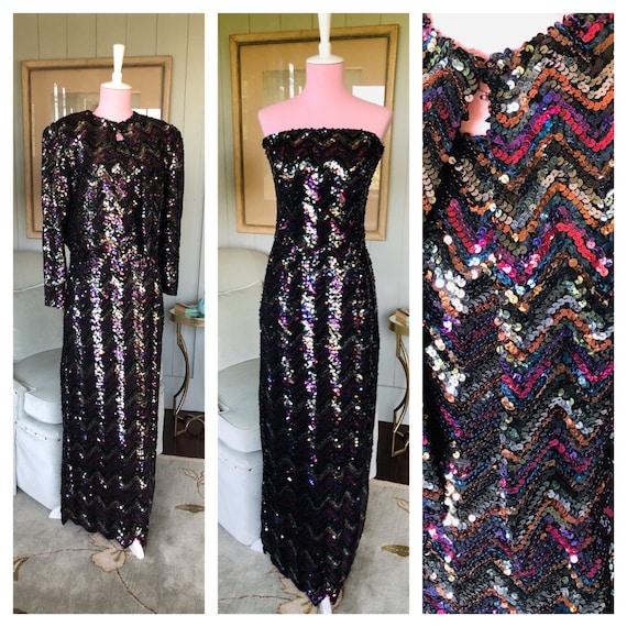 Sequin Dress, 80s Prom Dress, Sequin Maxi Dress, B