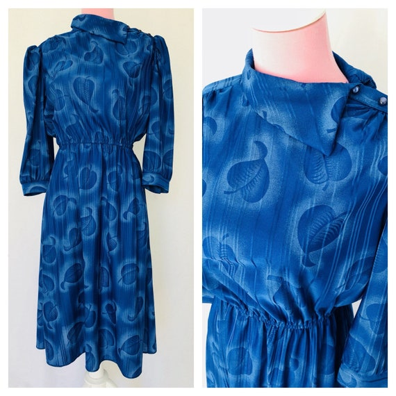 SALE! Vintage 80's Blue Floral Puff Sleeved Dress