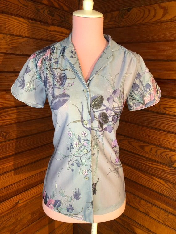 70s Blouse, 70s Disco Shirt, Psychedelic Shirt, B… - image 2