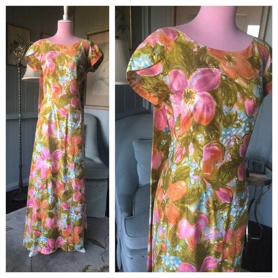 Hawaiian Dress, 60s Dress, Tiki, Mod Dress | Small