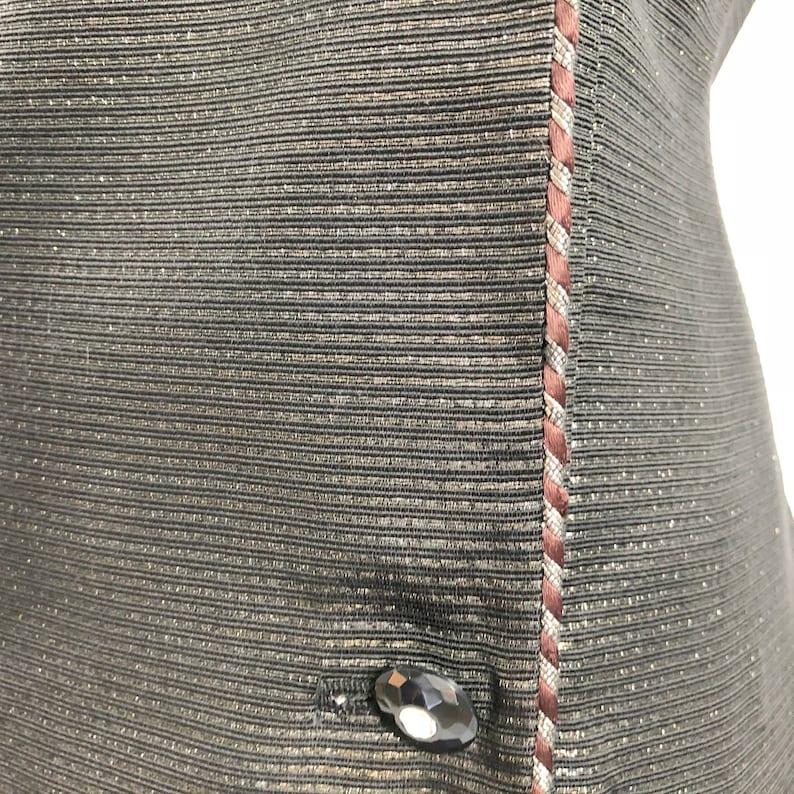 80s Evening Jacket Cocktail Black Silver Lame/' Rhinestone Buttons Big Shoulders Leslie Fay SALE MediumLarge