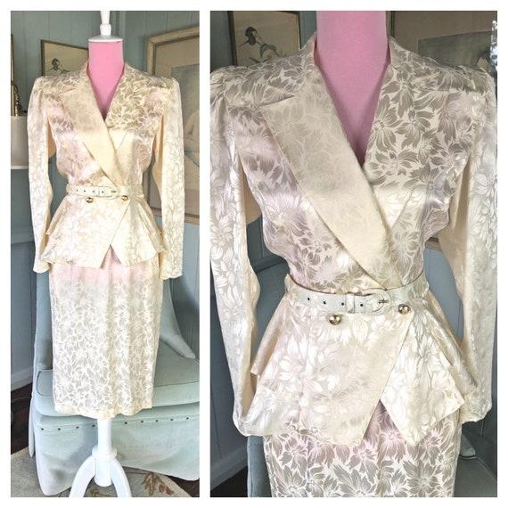 Silk Suit, 80s Suit, Silk Dress, 80s Cocktail Dres