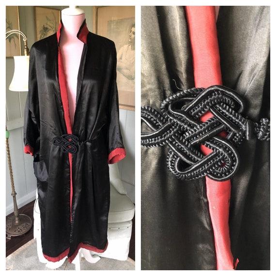 Satin Kimono, Vintage Dressing Gown, 20s Robe, Kim
