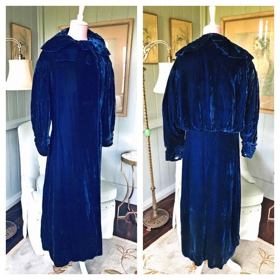Opera Coat, 1920s Coat, Flapper, Erte, Blue Velvet