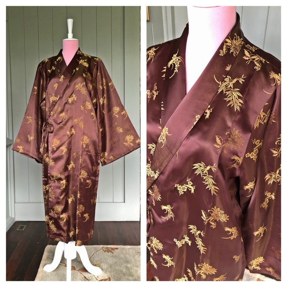 Satin Kimono, Vintage Dressing Gown, Kimono Vintag