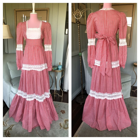 Gunne Sax Dress, Gingham Dress, 70s Prairie Dress,
