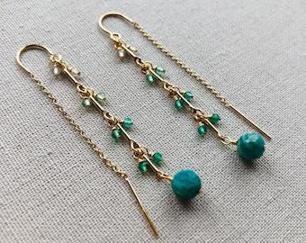 Emerald And Amazonite Threader Earrings | Gold Filled Thread Through Earrings | Real Emerald Earrings | Earrings For Women | Handmade