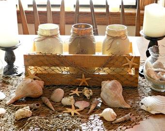 Sand mason jar centerpiece oak stained crate hand painted mason jar home decor Summer decor diy home decor ball mason jars 16x8x8