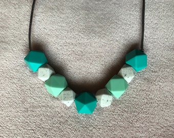 Teal and Marble Bead Teething and Fiddle Necklace