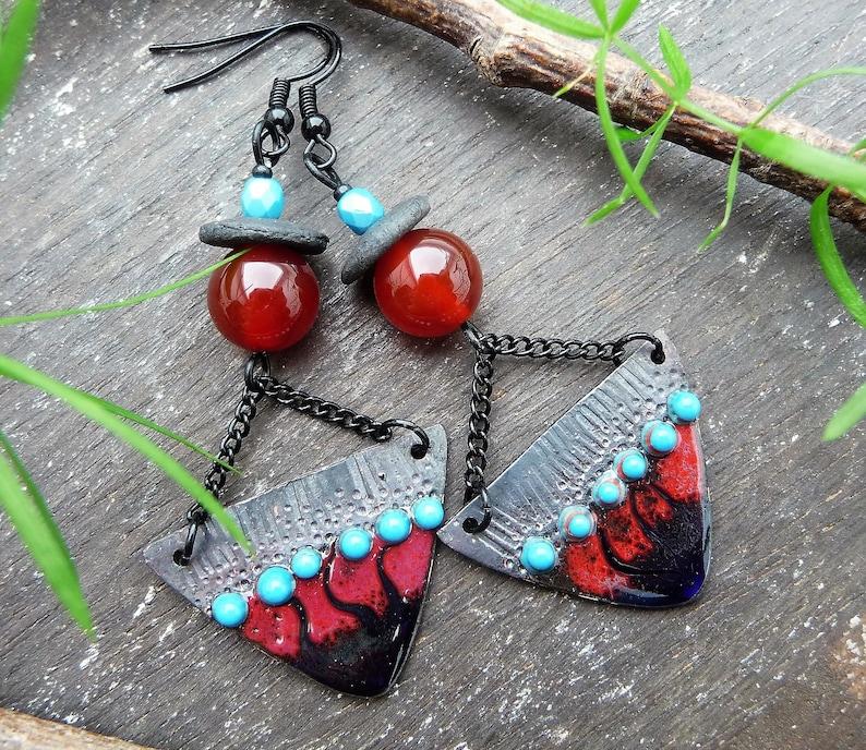 cornelian beads dark red ethnic design black and blue tribal earrings raku discs handcrafted enamelled copper charms Kira black hooks