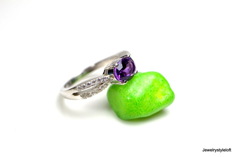 Natural Amethyst Ring Purple gemstone ring R348 Anniversary ring 925 sterling silver ring February birthstone Promise Ring