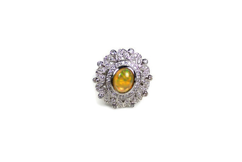 BIG Opal Ring Fine Jewelry R60 925 Sterling Silver Ring Opal jewelry Natural Opal Ring 1.80 Cts AAA+ Opal Ring October Birthstone