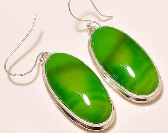 "New party wear ! Botswana Agate Gemstone Silver Plated Handmade Earring 2"""
