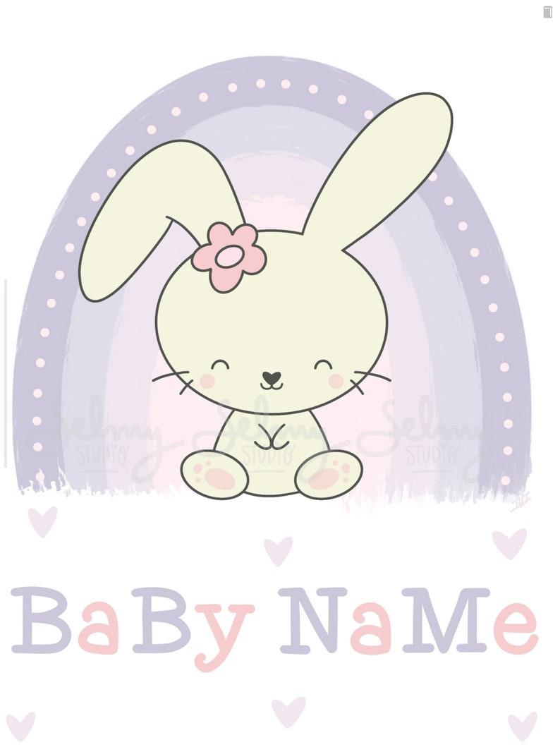 Bunny Personalized baby girl name wall artName rainbow | Etsy