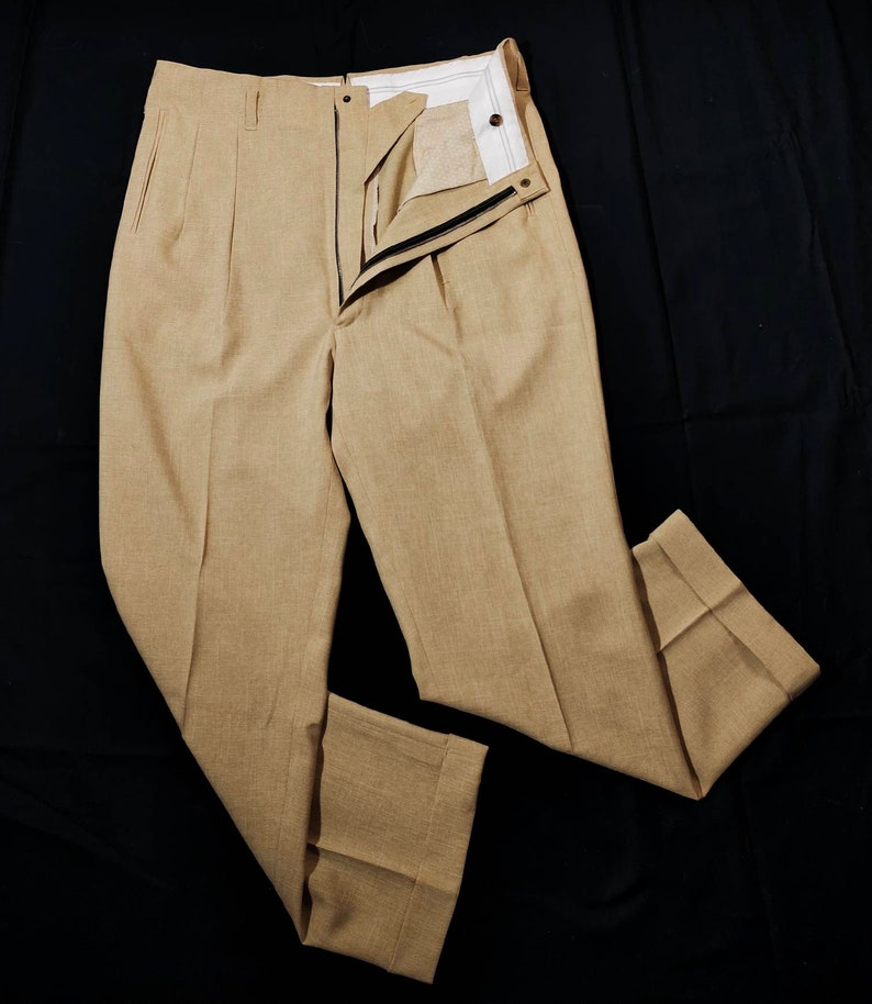 1950s Men's Pants, Trousers, Shorts | Rockabilly Jeans, Greaser Styles Beige Drop Loop High Waist Trousers Rockabilly $110.00 AT vintagedancer.com