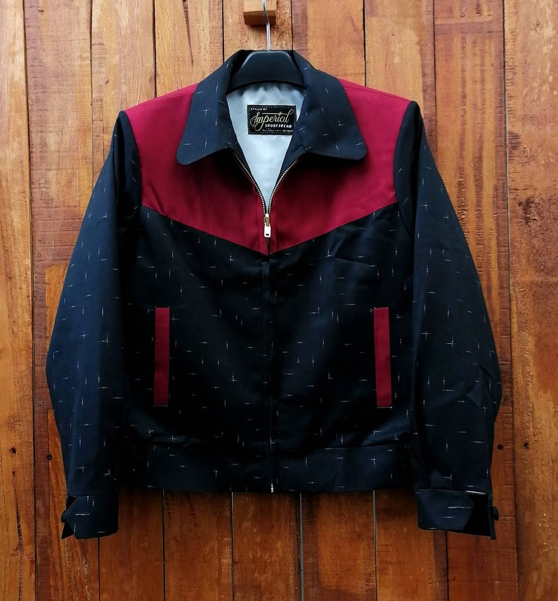 50s Men's Jackets | Greaser Jackets, Leather, Bomber, Gabardine Rockabilly Two Tone Fleck Ricky Jacket $200.00 AT vintagedancer.com