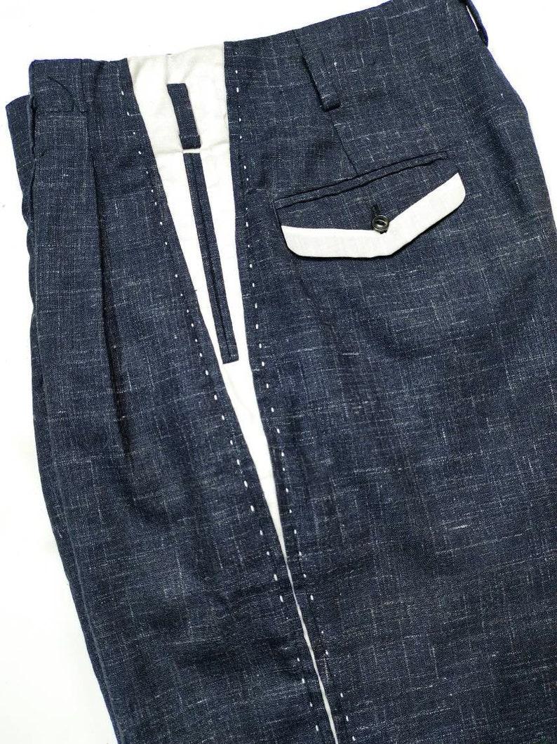 1950s Men's Pants, Trousers, Shorts | Rockabilly Jeans, Greaser Styles Rockabilly Navy Flecks Pistol Pants 50s VLV $135.00 AT vintagedancer.com