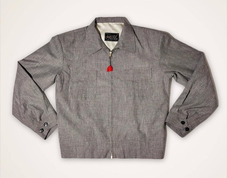 Men's Vintage Jackets & Coats Grey Gab Jacket Rockabilly Imperial 1950s $200.00 AT vintagedancer.com