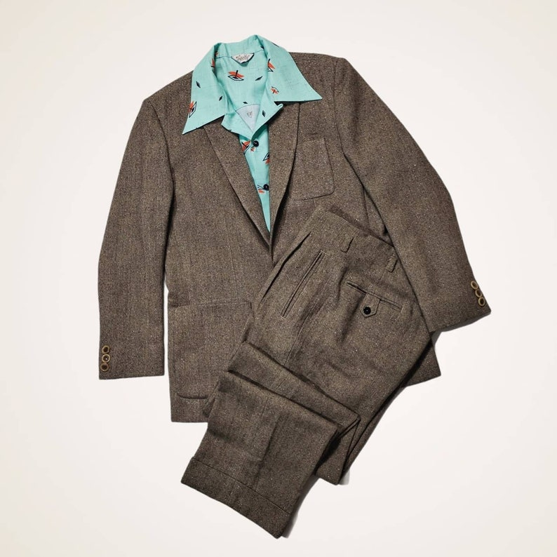 1950s Mens Suits & Sport Coats | 50s Suits & Blazers Killer Rockabilly Brown Fleck Suit 1950s mens $350.00 AT vintagedancer.com