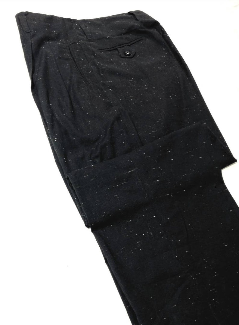 1950s Men's Pants, Trousers, Shorts | Rockabilly Jeans, Greaser Styles Rockabilly Black Fleck Slacks Cotton Drop Loop VLV $120.00 AT vintagedancer.com