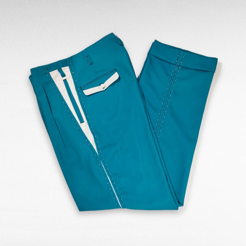 1950s Men's Pants, Trousers, Shorts | Rockabilly Jeans, Greaser Styles Rockabilly Pistol Pants Turquoise VLV trousers 1950s $150.00 AT vintagedancer.com