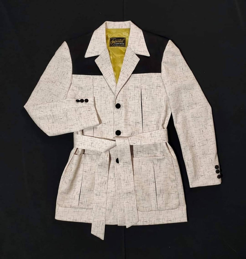 1950s Men's Clothing Two Tone Fleck Gabardine Hollywood Jacket Rockabilly Available In White And Beige $230.00 AT vintagedancer.com