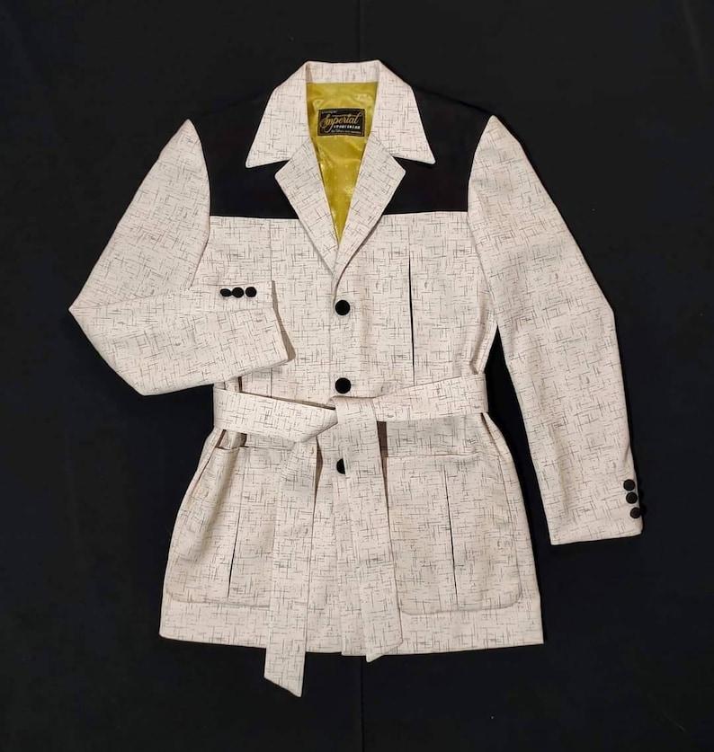 Men's Vintage Jackets & Coats Two Tone Fleck Gabardine Hollywood Jacket Rockabilly Available In White And Beige $230.00 AT vintagedancer.com